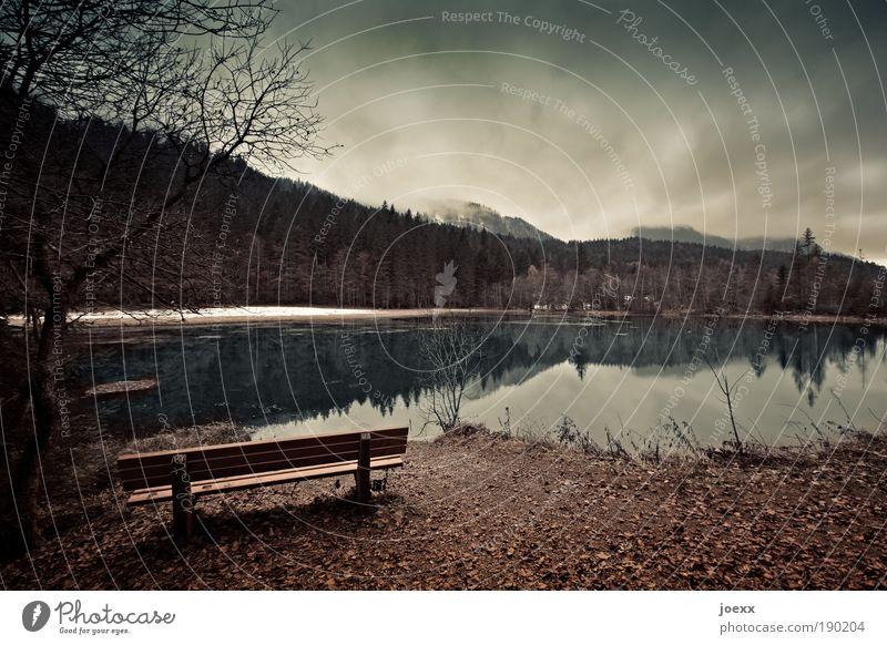 Rückzug II Natur Wasser Himmel Baum Winter ruhig Wolken Einsamkeit Wald dunkel Schnee Erholung Herbst Berge u. Gebirge See Landschaft