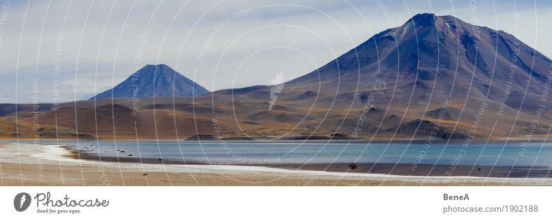 Panorama mit Lagune und Vulkan in der Atacama-Wüste Natur Abenteuer Endzeitstimmung erleben exotisch Horizont Ferien & Urlaub & Reisen Umwelt Umweltschutz Ferne