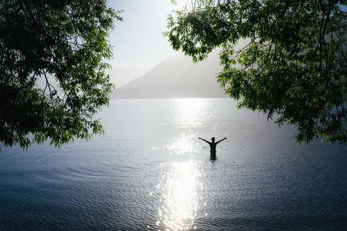 Person in einem See bei Gegenlicht streckt die Arme in die Luft Mensch Frau Natur Mann Sommer Wasser Sonne Baum Landschaft Meer Erholung Freude Ferne Strand