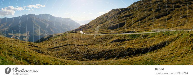 Paßstraße windet sich durch grüne Hügellandschaft Natur Landschaft Pflanze Himmel Gras Sträucher Moos Alpen Berge u. Gebirge Pass Gipfel Queenstown Neuseeland