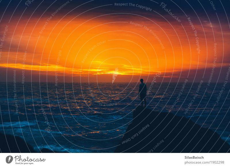 Natur Ferien & Urlaub & Reisen Jugendliche Junger Mann Meer Landschaft Freude Ferne Strand Leben Gefühle Lifestyle Küste Freiheit Stimmung Ausflug