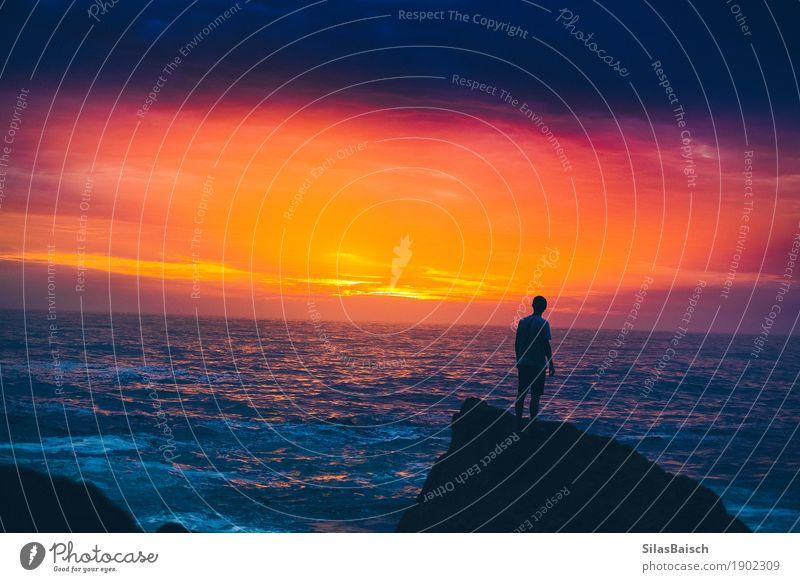 Ungleicher Horizont Natur Ferien & Urlaub & Reisen Jugendliche Junger Mann Ferne 18-30 Jahre Erwachsene Umwelt Leben Senior Lifestyle Freiheit Stimmung