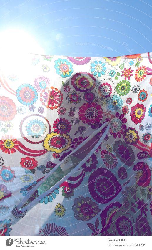 bloomy days. Sommer Luft Sonnenstrahlen mehrfarbig ästhetisch Dekoration & Verzierung Gegenlicht Kontrast viele Stoff Schatten Wäsche Licht Wäscheleine Tuch Stilrichtung