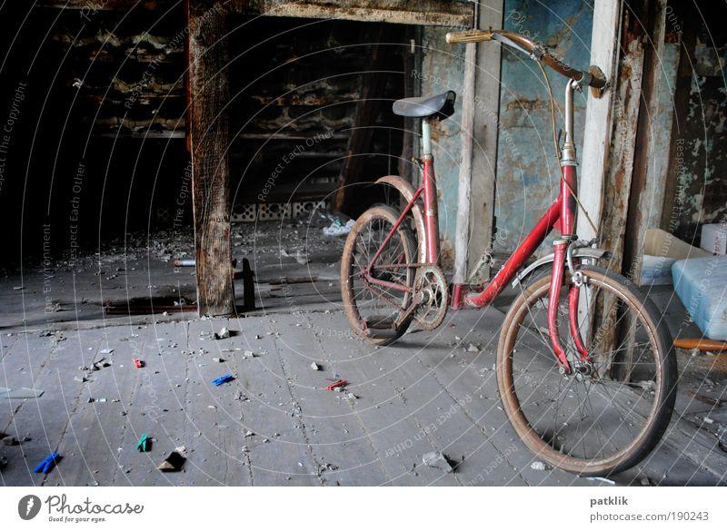 Fundstück der Woche alt rot Einsamkeit Spielen Traurigkeit Kindheit Fahrrad gehen dreckig trist retro Vergangenheit Rost parken Reifen verloren
