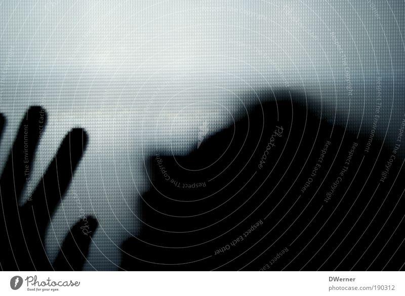 Hilfe! Stil Gesicht Krankheit Verlierer Mensch maskulin Mann Erwachsene Kopf Hand 1 Künstler Haus Glas berühren leuchten Traurigkeit Aggression hässlich