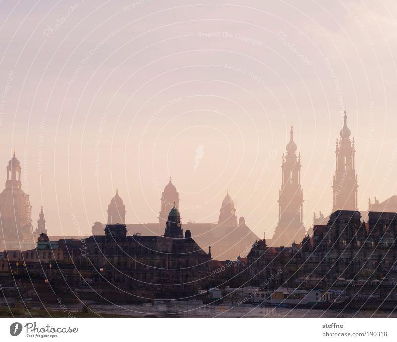 doppel d Flussufer Elbe Dresden Kirche Sehenswürdigkeit Wahrzeichen Frauenkirche Hofkirche Hofkirche Dresden Romantik schön Doppelbelichtung Farbfoto