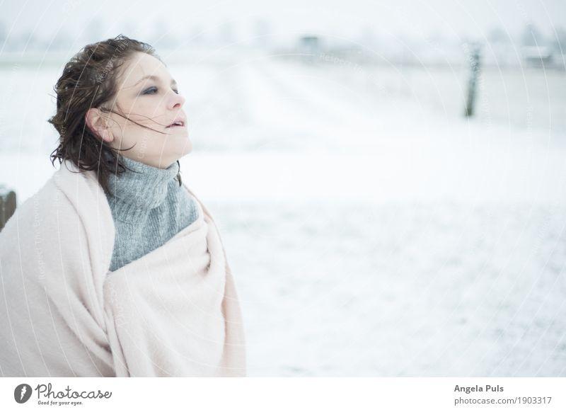rosé winter II Mensch feminin Frau Erwachsene 1 30-45 Jahre Natur Winter Wind Schnee Schal Pullover frieren genießen kalt kuschlig grau rosa weiß Gefühle