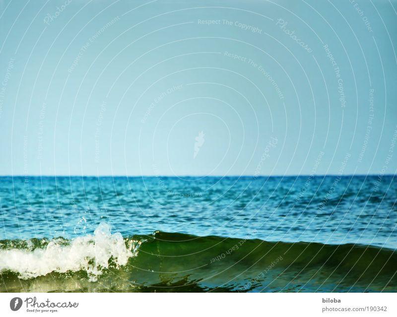 Meerblick Natur Wasser Himmel weiß grün blau Sommer ruhig Ferne Erholung Freiheit Landschaft Luft Wellen Küste