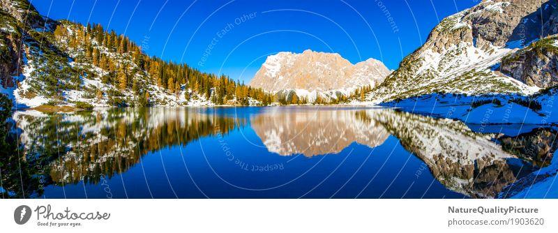 reflections in lake seebensee - tyrol - europa - austria Himmel Ferien & Urlaub & Reisen Pflanze Wasser Baum Landschaft Erholung ruhig Ferne Winter Wald