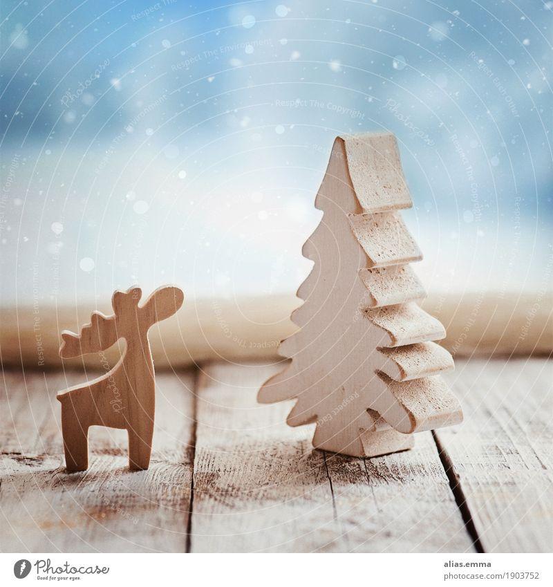 Warten auf Weihnachten 2017 :) Weihnachten & Advent Winter Rentier Holz Fenster Postkarte Schnee Schneefall Schneeflocke Baum Weihnachtsbaum natürlich rustikal