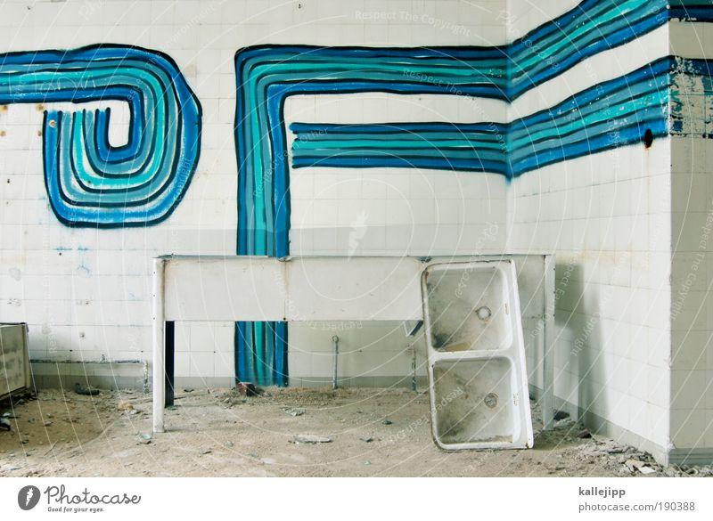 offline Lifestyle Häusliches Leben Wohnung Haus Innenarchitektur Raum Küche Bad Arzt Graffiti Waschbecken blau türkis Fliesen u. Kacheln kaputt Farbfoto