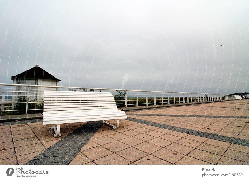 Saisonende Himmel Ferien & Urlaub & Reisen kalt Erholung Herbst Stimmung warten Wind Ausflug Perspektive Tourismus Bank Spaziergang Freizeit & Hobby Klima
