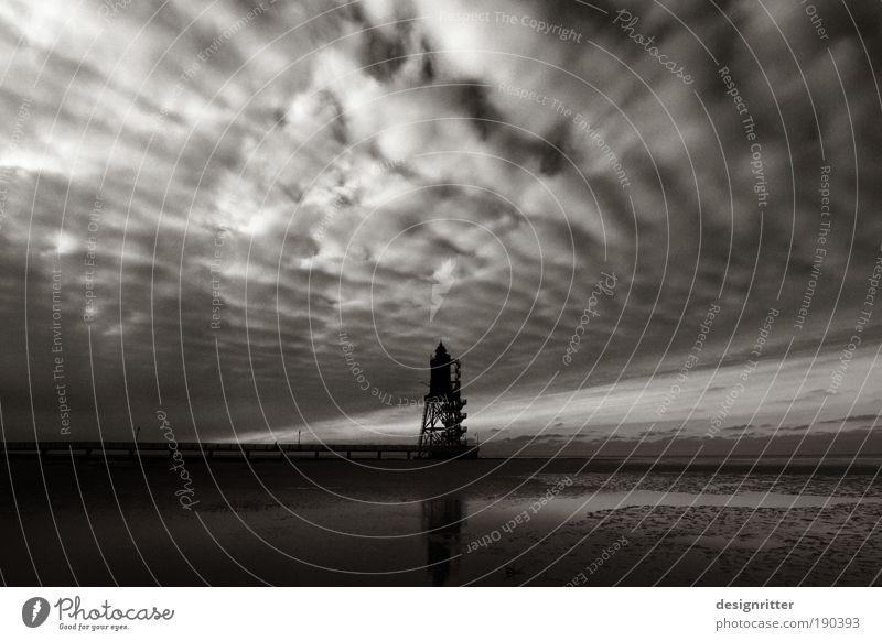Wolkendecke Himmel Wasser Meer dunkel Küste Wetter Wind Horizont Schilder & Markierungen bedrohlich Hafen Nordsee Neugier Zeichen Sturm