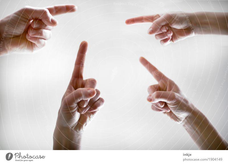 da, da, da | Orientierung Lifestyle Freizeit & Hobby Mensch Hand Finger Zeigefinger 4 Menschengruppe Kommunizieren gleich komplex Teamwork Irritation Ziel