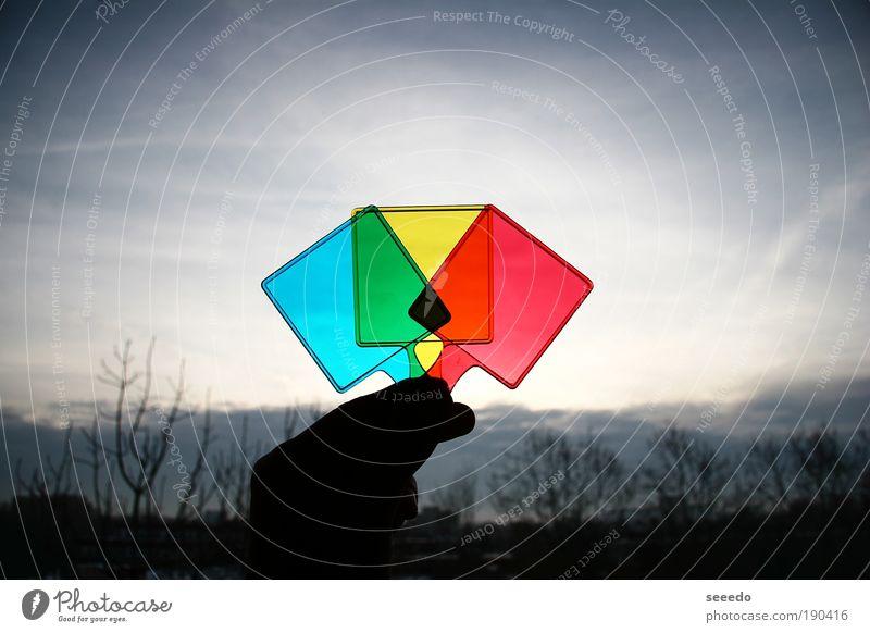 Himmel blau grün rot Farbe Wolken gelb dunkel mehrfarbig Zeichen Quadrat Strukturen & Formen eckig Symmetrie RGB Morgen