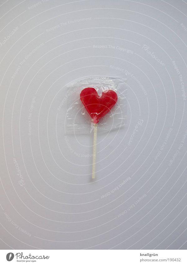 Sweetheart Lebensmittel Süßwaren Dauerlutscher Lollipop Ernährung Herz Glück Kitsch lecker rot weiß Gefühle Lebensfreude Sympathie Liebe Verliebtheit Romantik