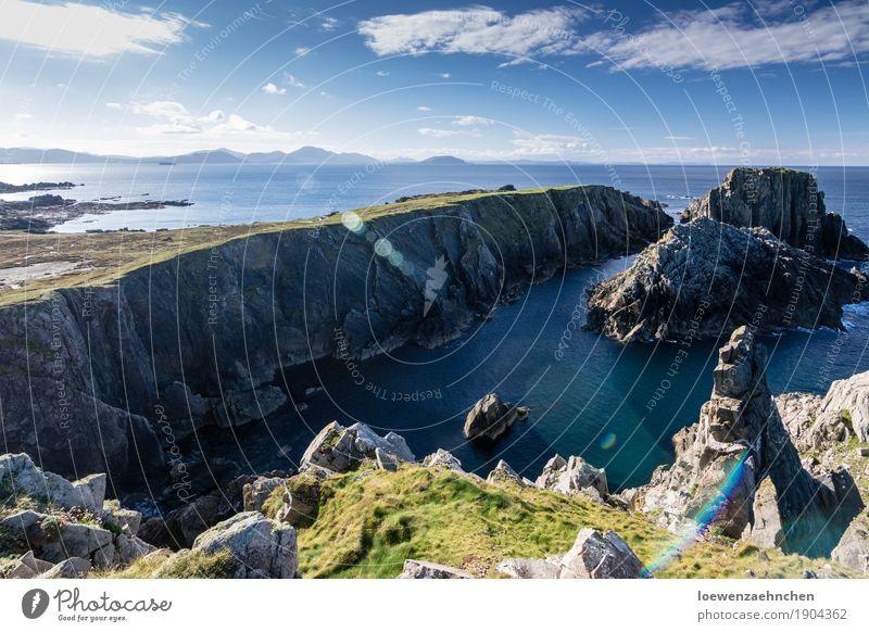 hinunter Himmel Natur Ferien & Urlaub & Reisen Wasser Sonne Meer Landschaft Erholung ruhig Ferne Herbst Küste Freiheit leuchten frei wandern