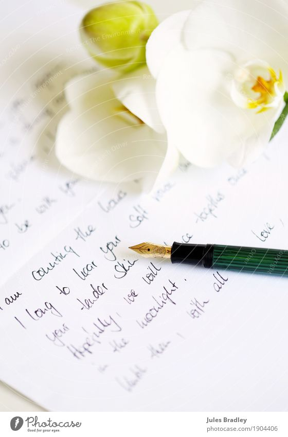 Liebesbrief schreiben, write letter schön Blume Gefühle Papier Romantik Sehnsucht Vertrauen Duft Verliebtheit Brief Schreibstift Valentinstag Sympathie Orchidee
