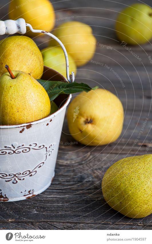 Natur alt Sommer Farbe grün gelb Herbst natürlich Holz grau Frucht Ernährung frisch retro Tisch lecker
