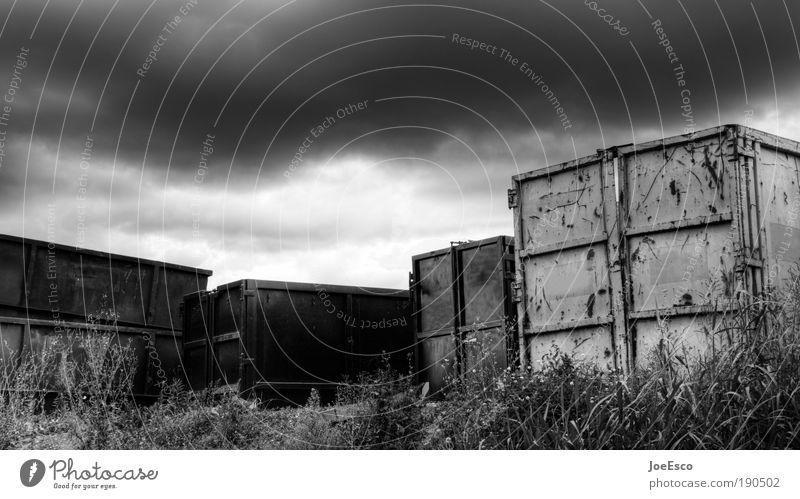 den stillstand beschleunigen... Pflanze Wolken kalt dunkel Arbeit & Erwerbstätigkeit Verkehr trist Pause Güterverkehr & Logistik Wandel & Veränderung Sturm