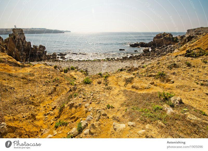 Küste Umwelt Natur Landschaft Pflanze Luft Wasser Himmel Horizont Sommer Wetter Schönes Wetter Felsen Wellen Meer Atlantik Peniche Portugal Stein Sand hell blau