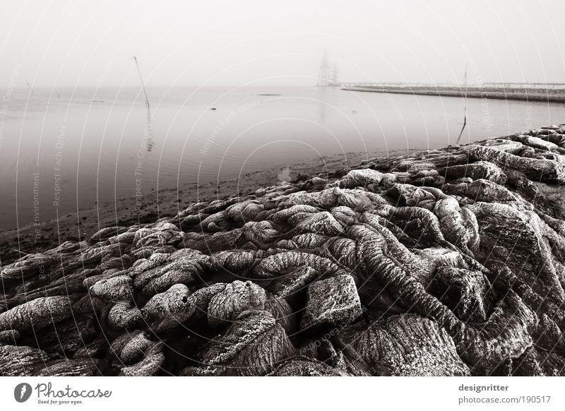 Invasion Meer Winter ruhig dunkel Schwarzweißfoto Stein Menschenleer Eis Angst Wetter Beton Sicherheit gefährlich Frost bedrohlich Schutz