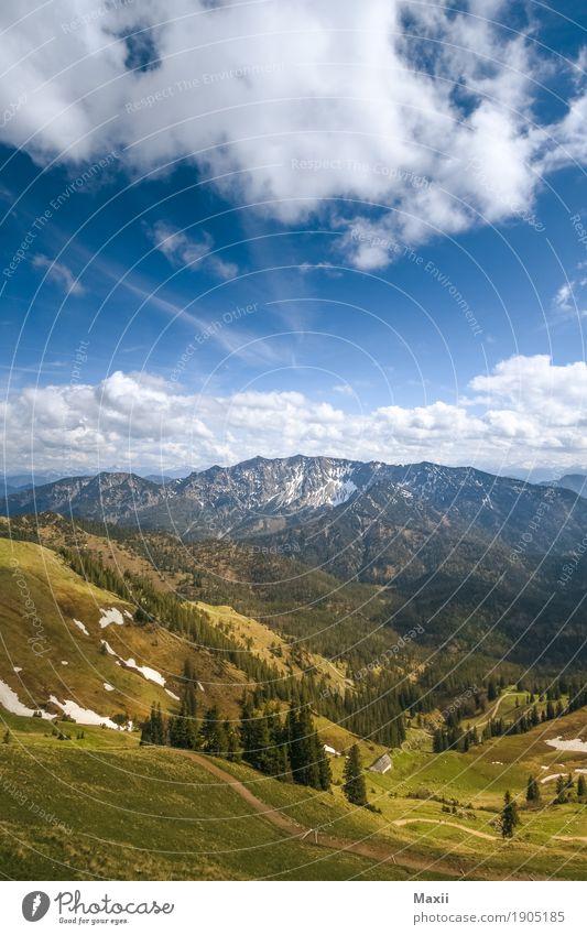Berblick von der Rotwand aus Umwelt Himmel Wolken Sonnenlicht Frühling Schönes Wetter Pflanze Baum Gras Wiese Wald Alpen Berge u. Gebirge Gipfel