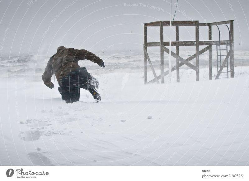 Schneemann Abenteuer Expedition Mensch maskulin Mann Erwachsene 1 18-30 Jahre Jugendliche Umwelt Natur Landschaft Himmel Winter Klima Unwetter Wind Sturm Wellen