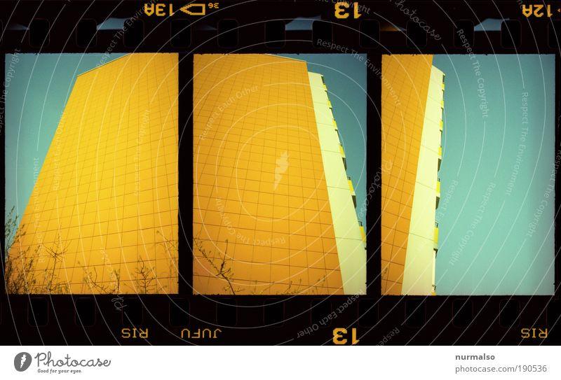 3in1 Farbbox blau Stadt Haus gelb Farbe Wand Gefühle Mauer Kunst Architektur gold Hochhaus verrückt frisch Fröhlichkeit