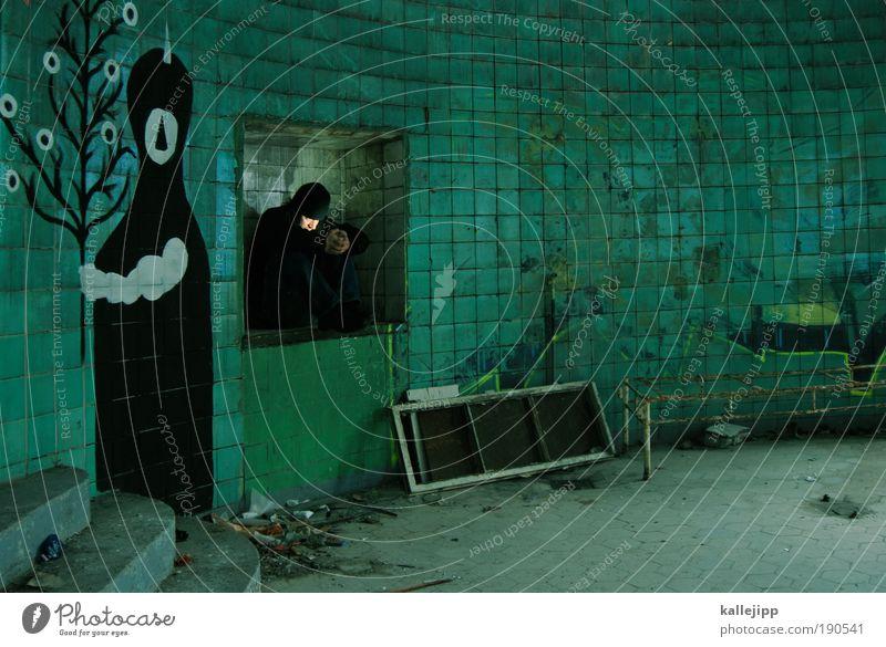 rückzug Mensch grün Baum Pflanze Leben Graffiti Kunst Raum sitzen maskulin Möbel leuchten Lifestyle Kultur Blick Bett