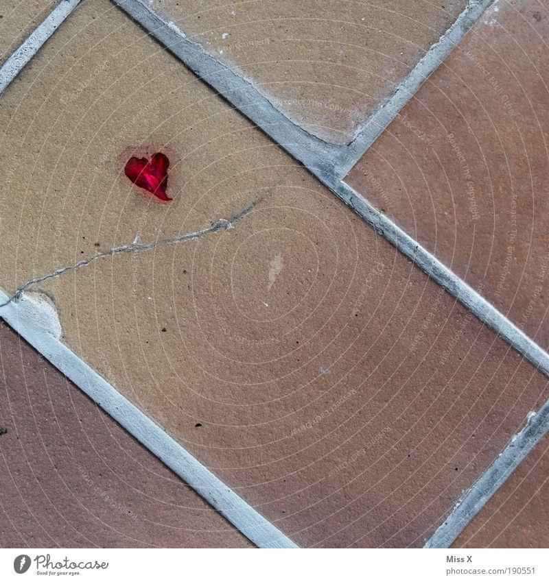 Herz am Boden Blatt Liebe Einsamkeit Straße Blüte Stein Traurigkeit Wege & Pfade Herz klein Rose Platz kaputt Schmerz Balkon Terrasse