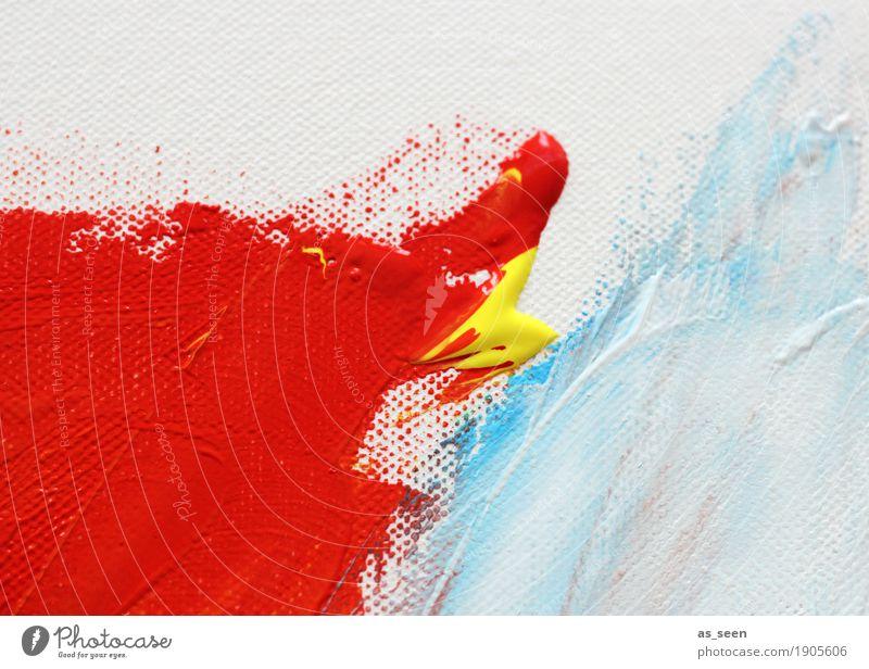 Kontakt Stil Design Leben harmonisch Kunst Maler Kunstwerk Gemälde Kultur berühren leuchten Flüssigkeit glänzend trendy modern Originalität blau gelb rot weiß