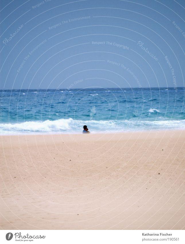 the next holiday will come Natur Wasser Himmel Meer blau Sommer Strand Ferien & Urlaub & Reisen Ferne Sand Landschaft braun Wellen Wetter Erde Klima
