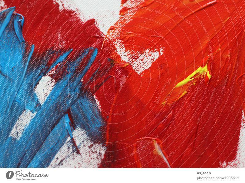 Blau trifft Rot Leben Freizeit & Hobby malen Dekoration & Verzierung Kunst Kunstwerk Gemälde Kultur leuchten ästhetisch trendy modern wild blau gelb rot Gefühle