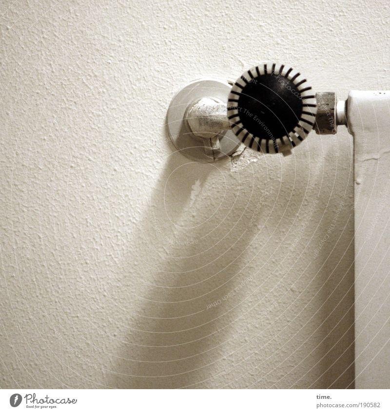 Master of Muggelich Heizung Heizkörper Temperaturregler Halterung Wand Raum Haus Schatten Innenaufnahme weiß Drehgewinde Manschette Metallwaren Kunststoff Wärme