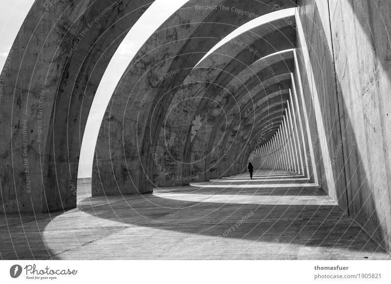 Schlund Mensch Frau Sommer Meer Einsamkeit Ferne Erwachsene Architektur Wand Wege & Pfade feminin Gebäude Mauer Zeit grau gehen