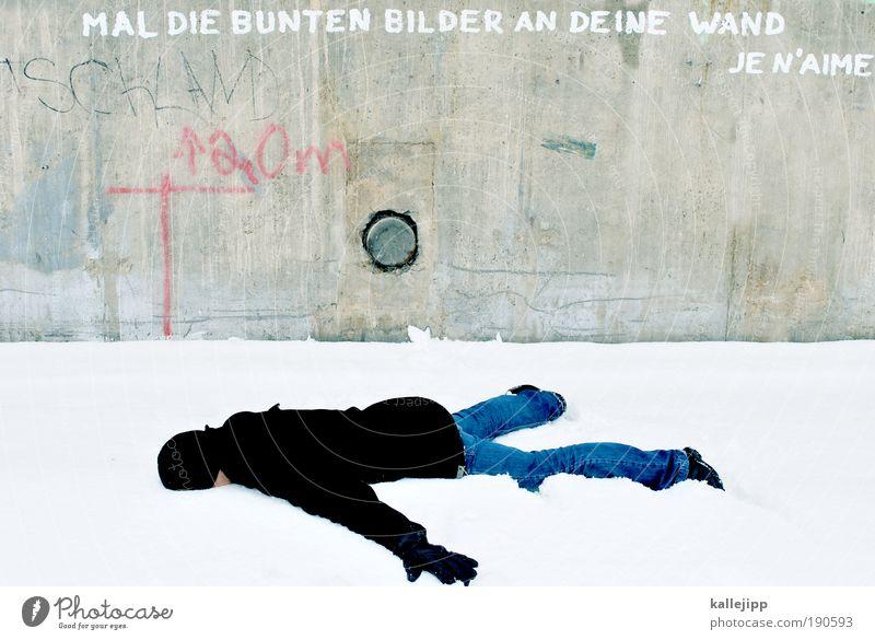 to cut a long story into short Mensch Mann weiß Winter Erwachsene Leben Schnee Tod grau Kunst Lifestyle liegen Eis Frost Bildung schreiben
