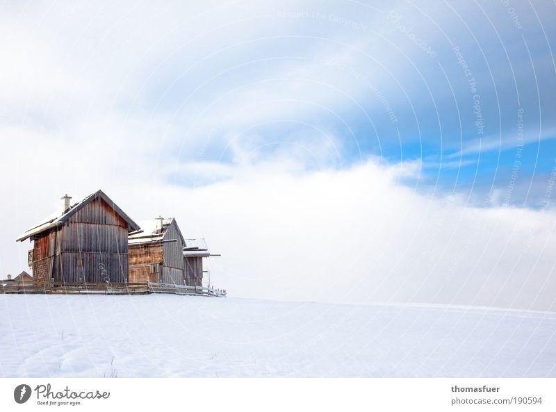 Almwinter - jodeldi ;) Natur Himmel weiß blau Winter Ferien & Urlaub & Reisen ruhig Haus Wolken Einsamkeit Ferne Schnee Berge u. Gebirge Landschaft Eis Licht