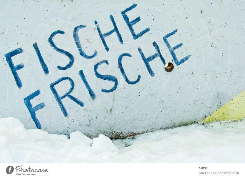 Frischer Fitze frischt ... blau Freude kalt Ernährung Schnee Wand Graffiti Mauer Gesundheit lustig Meer Beton Fassade Schilder & Markierungen Lebensmittel