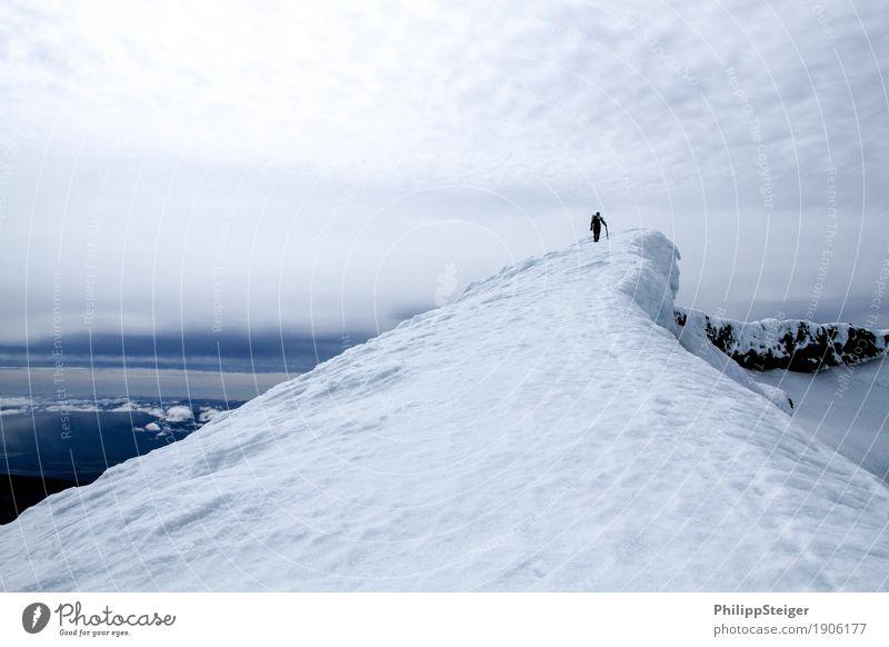 Gipfelstürmer Mensch Himmel Ferien & Urlaub & Reisen Jugendliche Junger Mann Landschaft Ferne Winter 18-30 Jahre Berge u. Gebirge Erwachsene Umwelt Schnee
