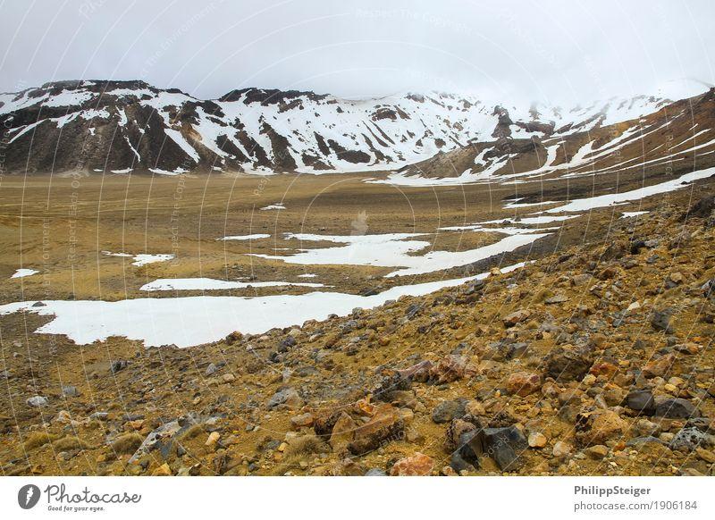 Steinige Weiten im Tongariro National Park Natur Ferien & Urlaub & Reisen Landschaft Wolken ruhig Berge u. Gebirge Schnee Sand Felsen Regen Nebel Erde wandern