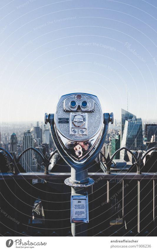 Über den Dächern von New York Ferien & Urlaub & Reisen Stadt Ferne Architektur Gebäude Freiheit Tourismus Metall Ausflug Hochhaus retro ästhetisch Aussicht USA