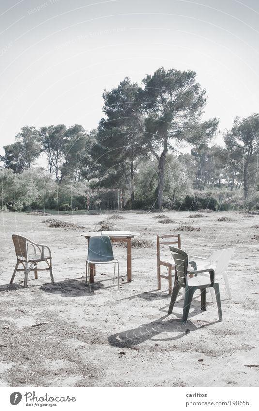 Mannschaftsbesprechung blau alt Sommer Einsamkeit Denken außergewöhnlich Erfolg Kommunizieren Tisch Stuhl Zusammenhalt skurril chaotisch Baum Fan Frustration