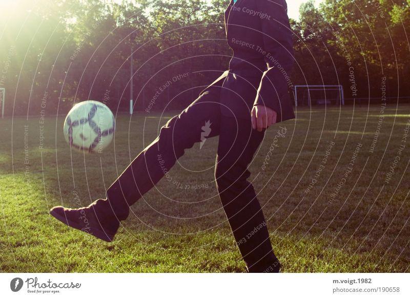 Die WM 2010 kommt! Fußball Tor Sportstätten Fußballplatz maskulin Junger Mann Jugendliche Wiese Anzug Turnschuh sportlich Coolness trendy grün Lebensfreude