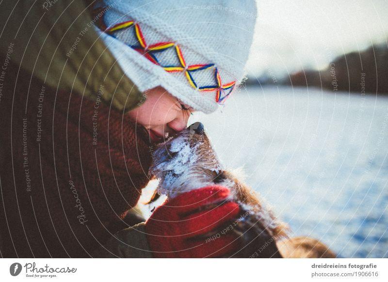 Bedingungslose Liebe. Frau Hund Tier Winter Erwachsene kalt Gefühle Lifestyle Schnee feminin Glück Zusammensein Freundschaft leuchten Kommunizieren