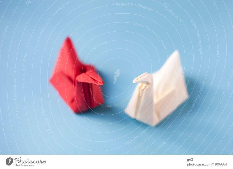 Servietten-Schwäne blau weiß rot Gefühle Liebe Feste & Feiern Zusammensein Freundschaft Freizeit & Hobby Ernährung Dekoration & Verzierung ästhetisch Romantik