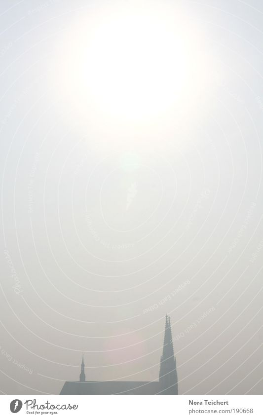 In der Ferne ... Umwelt Himmel Sonne Winter Klima Nebel Hügel Görlitz Sachsen Kleinstadt Altstadt Kirche Dom Bauwerk Gebäude Architektur Dach Sehenswürdigkeit