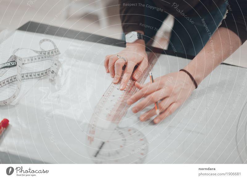 Schneiderei Freizeit & Hobby Basteln Modellbau Handarbeit Werkzeug Schere machen Damenschneiderei Ausschnitt Nähen Lineal Farbfoto Textfreiraum links