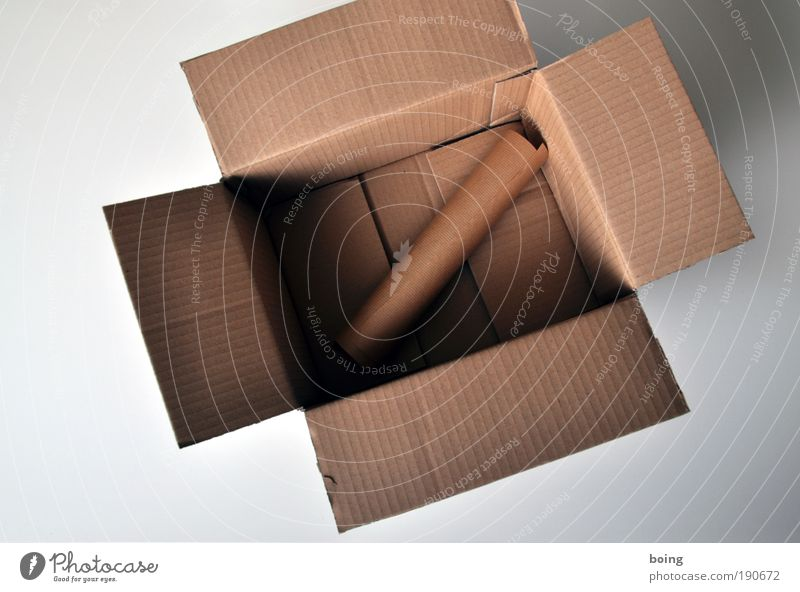 Packpapier im Pappkarton braun Papier leer Sicherheit Güterverkehr & Logistik Umzug (Wohnungswechsel) Dienstleistungsgewerbe Kasten Handwerk Karton Handel
