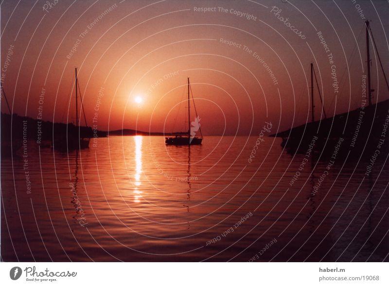 Sonnenuntergang in Kroatien Ferien & Urlaub & Reisen ruhig Wasserfahrzeug Europa Segeln Kornaten